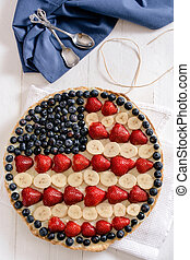 Sweet American pie with berry fruits and vanilla...