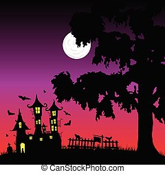 sweet and beauty castle with bats vector part three