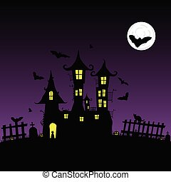 sweet and beauty castle with bats vector part two