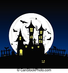 sweet and beauty castle with bats vector part four