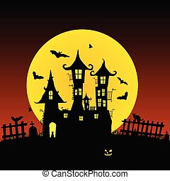 sweet and beauty castle with bats vector part one