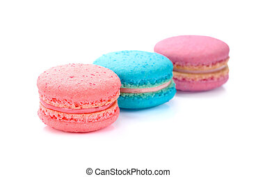 Sweet and colourful french macaroons, macaron on white background, Dessert.