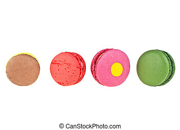 Sweet and colourful french macaroons on a white background, Dessert.
