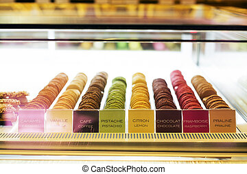 Sweet and colourful french macaroons or macaron in refrigerator