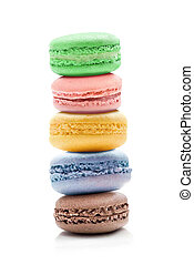 Sweet and colourful french macaroons or macaron on white background
