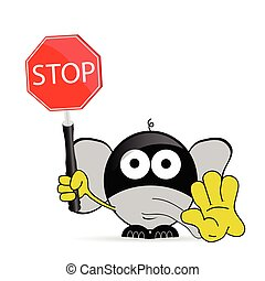 sweet and cute elephant with sign stop vector