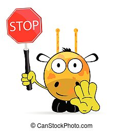 sweet and cute giraffe with sign stop vector