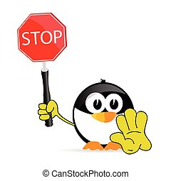 sweet and cute penguin with sign stop vector