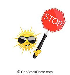sweet and cute sun with sign stop vector