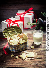 Sweet and tasty cookies with milk for Christmas