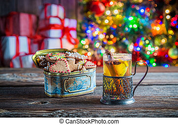 Sweet and tasty tea and gingerbread cookies at Christmas eve