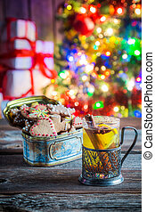 Sweet and tasty tea and gingerbread cookies for Christmas