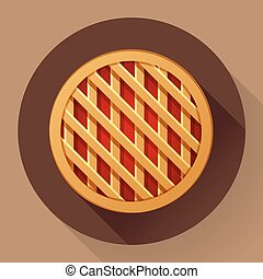 Sweet apple pie icon. Flat designed style