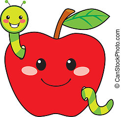 Cute green worm happy in love with sweet red apple