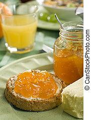jam - sweet apricot jam on toast close up
