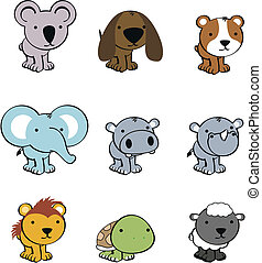 sweet baby animals cartoon cute set