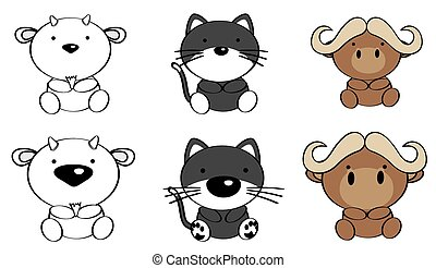 sweet baby animals cartoon set2