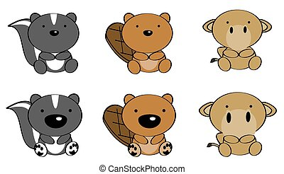 sweet baby animals cartoon set3