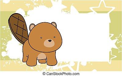 sweet baby beaver cartoon frame