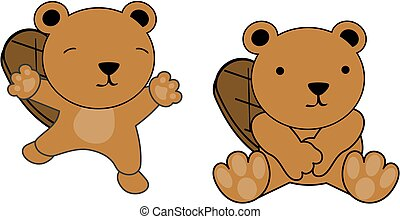 sweet baby beaver cartoon set in vector format very easy to...