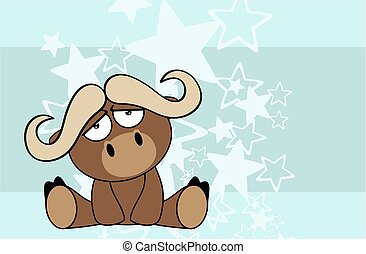sweet baby bull cartoon background