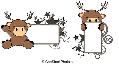sweet baby deer cartoon copyspace