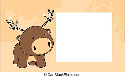 sweet baby deer cartoon frame card
