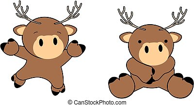 sweet baby deer cartoon set
