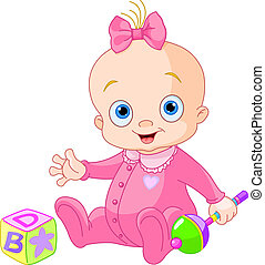 Sweet baby girl - Baby Girl  playing with rattle