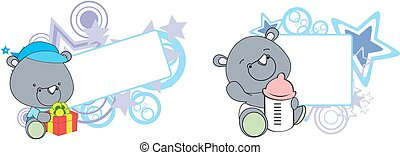 sweet baby rhino cartoon set