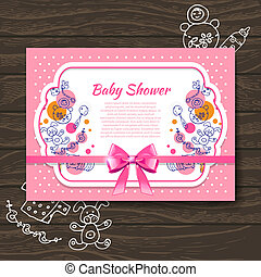 Sweet baby shower invitation with doodle baby toys
