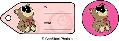 sweet baby teddy bear cartoon hug heart copyspace