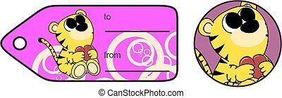 sweet baby tiger cartoon hug heart copyspace
