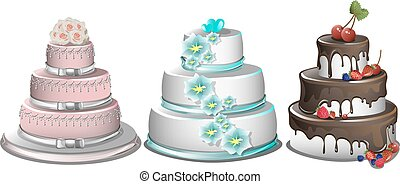 Sweet baked cakes set