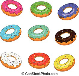 Sweet bakery. Isolated donuts set with colorful glaze vector illustration