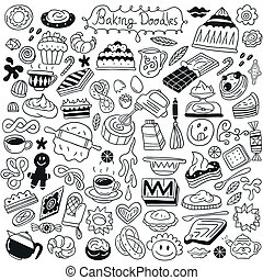 sweet baking doodles - baking - set icons in sketch style