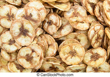 Sweet banana chips. use as snack food background
