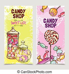 Sweet Banner Set - Sweet vertical banner set with hand drawn...