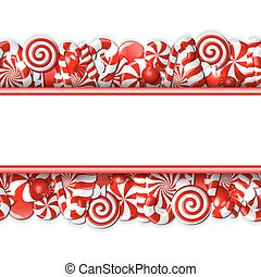 Sweet banner with red and white candies.
