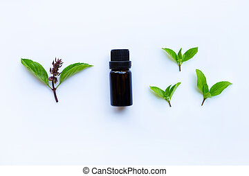 Sweet basil essential oil in a glass bottle on white background.