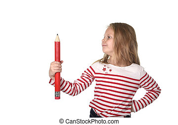 sweet beautiful female child 6 to 8 years old holding huge red pen school supplies concept