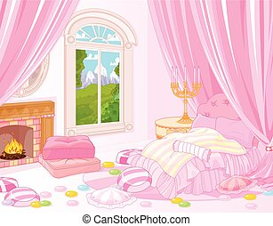 Sweet Bedroom - Illustration of fairytale bedroom