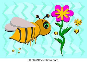 Sweet Bee Flying with Flowers