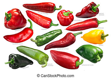 Sweet bell peppers collection, paths