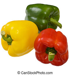 Sweet bell peppers on a white background