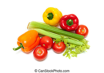 sweet bell peppers, tomatoes and celery on a white background