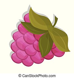 Sweet berry isolated on white background. Vector icon. raspberry