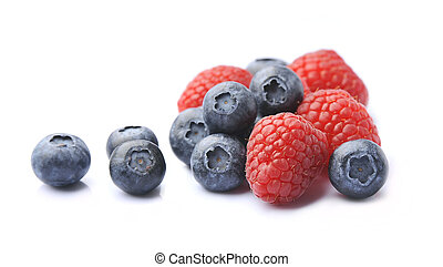 Sweet berry of raspberry and blueberry isolated on white backgrounds