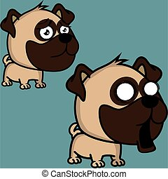 cute big head baby pug dog expressions collection set in vector format very easy to edit