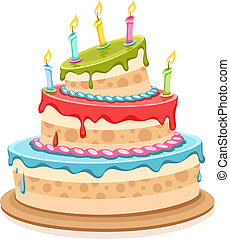 Sweet birthday cake with candles - eps10 vector illustration...